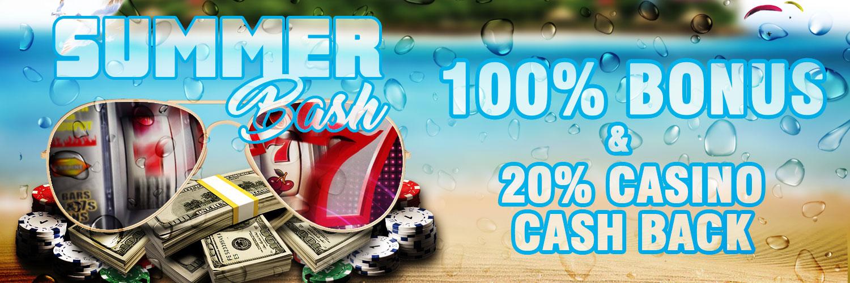 100% bonus - 20% casino cash back